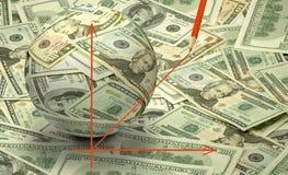 Stiliserad bild av en boll som göras av dollarräkningar Arkivfoton