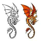 Stiliserad bild för drake apelsin strömkrets färg stock illustrationer