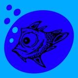 Stiliserad blåttfisk som blåser bubblor Royaltyfri Fotografi