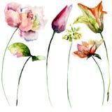 Stiliserad blommavattenfärgillustration stock illustrationer