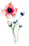 Stiliserad blommavattenfärgillustration Arkivfoton