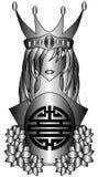 Stiliserad drottning med symbol av dubbel lycka Arkivbilder