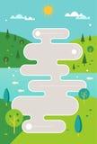 Stiliserad färdplanillustration mot bygdkullar och flodbakgrund Infographics mall Royaltyfria Foton