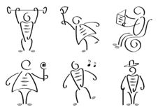 Stiliserad folkuppsättning också vektor för coreldrawillustration vektor illustrationer
