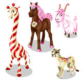 Stiliserad häst, puma, get, giraff under sötsaker Royaltyfri Fotografi