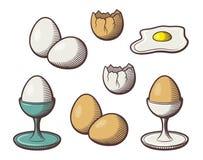 Stiliserad hand dragen illustration av ägg Kulör vektorbilduppsättning stock illustrationer