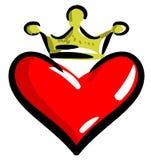 Stiliserad hjärta med den isolerade kronan Fotografering för Bildbyråer