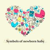 Stiliserad hjärta med en bild av ämnen för det nyfött behandla som ett barn Illustration för bruk i design Arkivbilder