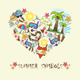 Stiliserad hjärta med sommarsymboler Illustration för bruk i design Royaltyfri Fotografi