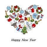 Stiliserad hjärta med symboler av det lyckliga nya året Royaltyfria Bilder