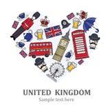 Stiliserad hjärta med symboler av Förenade kungariket Arkivfoto