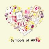 Stiliserad hjärta med symboler av konst Illustration för bruk i design Arkivbild