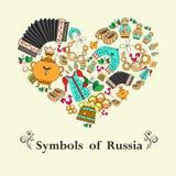 Stiliserad hjärta med symboler av Ryssland Royaltyfria Foton