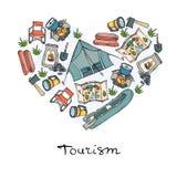 Stiliserad hjärta med symboler av turism som campar Royaltyfria Foton