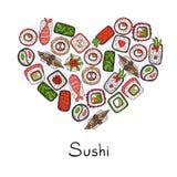 Stiliserad hjärta på temat av japansk mat Arkivbilder
