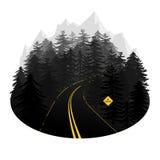 Stiliserad illustration för vektor för skogväg med berg i Het Royaltyfri Fotografi