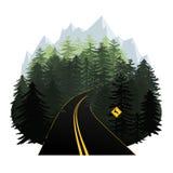 Stiliserad illustration för vektor för skogväg med berg i Het Arkivfoton