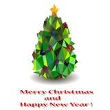 Stiliserad julgran med den gula stjärnan. Fotografering för Bildbyråer