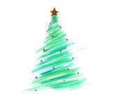 Stiliserad julgran med färgrika prydnader Royaltyfri Bild