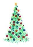 Stiliserad julgran med färgrika prydnader Arkivfoton