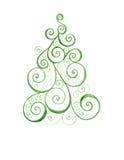 Stiliserad julgran med färgrika prydnader Royaltyfri Fotografi