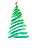 Stiliserad julgran med färgrika prydnader Royaltyfri Foto