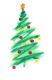 Stiliserad julgran med färgrika prydnader Arkivbilder