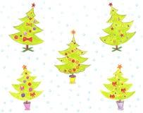 Stiliserad julgran med färgrika prydnader Royaltyfria Bilder