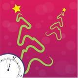 Stiliserad julgran med klockan Royaltyfri Bild