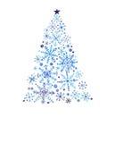 Stiliserad julgran med snöflingaprydnader Fotografering för Bildbyråer
