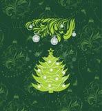 Stiliserad julgran på den sömlösa bakgrunden med glitter och dekorativa bollar Fotografering för Bildbyråer