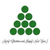 Stiliserad julgranvolym av pappers- cirklar Royaltyfria Foton
