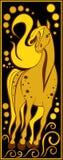 Stiliserad kinesisk horoskopsvart och guld - häst Arkivbilder