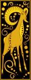 Stiliserad kinesisk horoskopsvart och guld - svin Arkivfoton