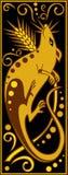 Stiliserad kinesisk horoskopsvart och guld - tjalla Arkivbild