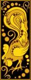 Stiliserad kinesisk horoskopsvart och guld - tupp Arkivbilder