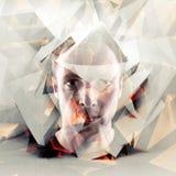 Stiliserad konstnärlig stående för ung man med kaotiska polygoner fotografering för bildbyråer