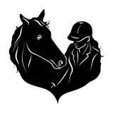 Stiliserad kontur av en häst med en härlig frisyr och en flickaryttare stock illustrationer