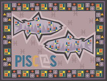 Stiliserad och dekorativ zodiak royaltyfri illustrationer
