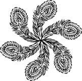 Stiliserad prydnadtextursvart befjädrar på vit bakgrund som är ordnad i en cirkel Royaltyfri Bild