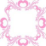 Stiliserad rosa bildram, med den utsmyckade modellen och hjärtor för valentin dag Ram för fotovektor Royaltyfri Fotografi
