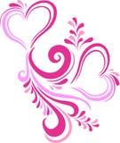 Stiliserad rosa hjärtavalentin dag som inskrivas i den utsmyckade modellen Kort på valentin dag i vektor Arkivbild
