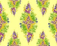 Stiliserad sömlös blom- modell Royaltyfria Bilder
