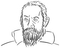 Stiliserad stående av Galileo Galilei Royaltyfri Fotografi