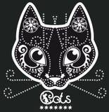 Stiliserad svartvit mönstrad katt Royaltyfri Bild