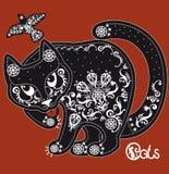Stiliserad svartvit mönstrad katt på rött Royaltyfri Fotografi