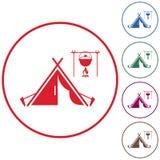 Stiliserad symbol av det turist- tältet Fotografering för Bildbyråer
