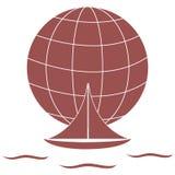 Stiliserad symbol av en kulör yacht som seglar över vågorna på en gl stock illustrationer