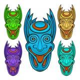 Stiliserad uppsättning för demon huvud royaltyfri illustrationer