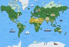 Stiliserad världskarta med symboler för turist- dragning Enkel geografisk översikt Plan vektorillustration stock illustrationer